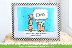 Lawn Fawn - Dad + Me, Cross-Stitched Rectangle Stackables, Let's Polka in the Meadow paper _  card by Elena for Lawn Fawn Design Team