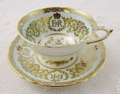 Turquoise Paragon Commemorative Coronation Tea Cup and Saucer, Queen Elizabeth II, Vintage Tea Cup, 1950s, English Bone China