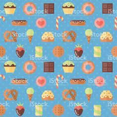 Sweets flat multicolored cute vector seamless pattern (blue). royalty-free stock vector art