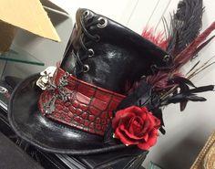 Voodoo Baron Samedi   Baron Samedi Voodoo Priest Leather Top Hat by LeatherbyDarkHorse
