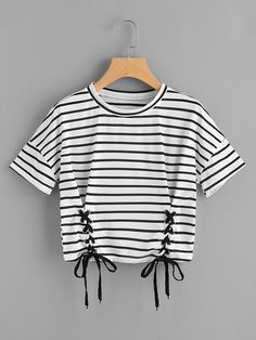 Shop Striped Grommet Lace Up Dropped Shoulder Top online. SheIn offers Striped Grommet Lace Up Dropped Shoulder Top & more to fit your fashionable needs. Cute Comfy Outfits, Trendy Outfits, Cool Outfits, Girls Fashion Clothes, Teen Fashion Outfits, Black And White Shorts, Crop Top Outfits, Cute Crop Tops, Fashion Black
