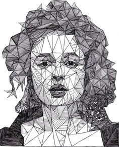 Helena Bonham Carter [Pen]. Draw angled lines over a photograph.