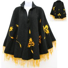 Women's Poncho Cape Black Vintage 70's Wool, gold color embroidered flowers, fringes, boho-chic, hippie style. by zazaofcanada. Explore more products on http://zazaofcanada.etsy.com