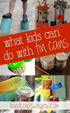 Upcycle those tin cans before you recycle them! 26 tin can crafts, activities, holiday ideas, as well as music makers that you can do- with the kids!