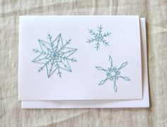 Snowflake Christmas Card Embroidered Holiday Card by KotoDesigns