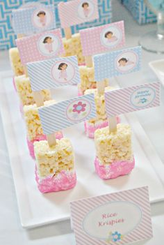 Rice Krispy treats on a popsicle stick...use whatever color matches your color scheme.