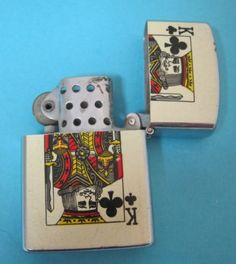 Vintage-Ace-of-Clubs-amp-King-of-Clubs-Lighter-Starfire-Japan-NICE-DRW1