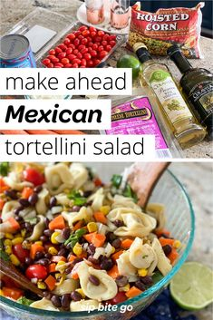 Make ahead Mexican tortellini pasta salad with cilantro lime dressing is great for potlucks, wfh lunch, and family style dinners. It's a tasty pasta salad! | sipbitego.com #sipbitego #dinner #pastasalad #makeahead #potluck #sidedish #pastadish #familymeal #recipe #comfortfood #pasta #mexican #tortellini #partyfood Pasta Salad With Tortellini, Easy Pasta Salad, Easy Dinners, Easy Dinner Recipes, Mexican Pasta, Baked Rigatoni, Make Ahead Salads, Lime Dressing, Potlucks