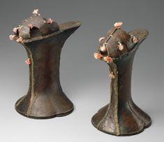 Woman's platform shoes (or chopines) Italian (Venice), 1590–1610 Tooled leather over wood, with metallic braid and silk tassels