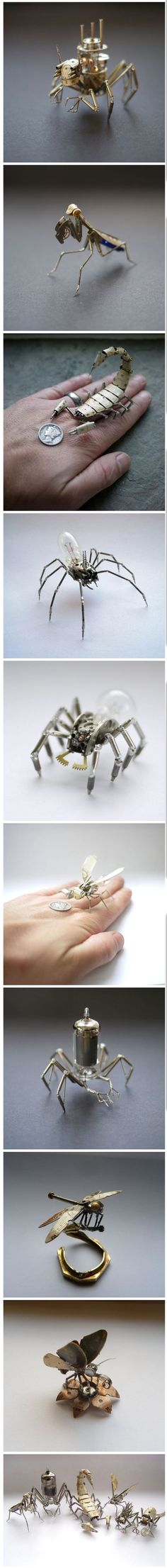 Tiny Mechanical Insects Made of Watch Parts Chicago-based artist Justin Gershenson-Gates, aka A Mechanical Mind, creates tiny steampunk insects by carefully soldering together gears, springs, and Art Steampunk, Steampunk Fashion, Steampunk Watch, Sculpture Metal, Insect Art, Electronic Art, Recycled Art, Dieselpunk, Art Plastique