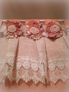 Pale rose Ivory burlap valance Shabby chic by MyBurlapStudio
