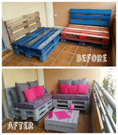 With some discarded pallets, a little paint and elbow oil here is a pleasant terrace set spiced up with pretty cushions.