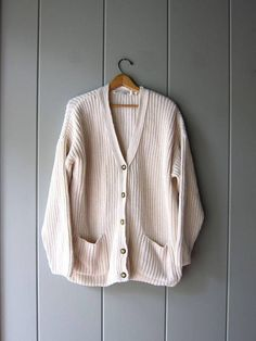 9c075390fa8 Chunky White Sweater Button Up Cardigan Sweater Thick Cotton Oversized  Sweater with Pockets Preppy Layering Fall Sweater Women Large XL. Vintage  ...