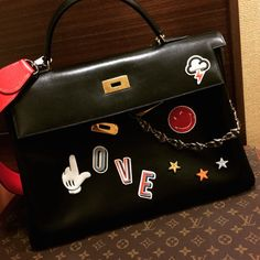 Anya Hindmarch Stickers on Hermes Kelly Bag