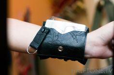 Edwardian Black Cuff Leather Wrist Wallet - Wristband Bracelet Pocket for Women or Men. $53.00, via Etsy.