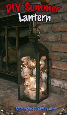 A Crafty Summer Lantern Decoration with Baseballs and Twinkle Lights! Summer Diy, Summer Crafts, Baseball Crafts, Baseball Mom, Baseball Stuff, Baseball Season, Softball, Lanterns Decor, Decorating With Lanterns