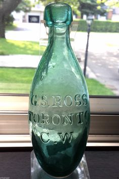 Rare Valuable Historical G.S. (George Stephen) Ross Toronto C.W. (Canada West) Soda Water Torpedo 1859-1861 Bottle Only!  This Great Torpedo Bottle is From The Collection of The Late Dr. R. Dean Axelson.   There Are Only 3 Known Examples of This Early Canadian Soda Water Bottle.  A Museum Quality G.S. Ross Toronto C.W. Torpedo Bottle is Listed For $3,000.00 Plus in His 2007 Price Guide.