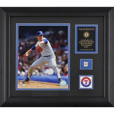 MLB - Nolan Ryan Texas Rangers Framed Photograph with Team Medallion and Game Used Baseball Piece