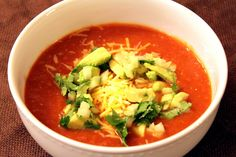Vegetable tortilla soup. I add one can of black beans to soup and top with avocado and tortilla strips