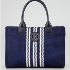 Mini Ella Striped Tote Bag Navy SOLD OUT EVERYWHERE !! Navy Blue and White Tory Burch Bag.. Beautiful and perfect for spring and summer only sign of use is the pen mark in the inside which is removable❌NO TRADES❌ Tory Burch Bags Totes