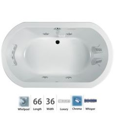 "Anza 66"" Whirlpool Bathtub for Drop In Installation with Center Drain and Chromatherapy / WhisperQuiet Technologies - Luxury Controls"