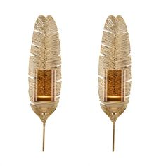 Ava 17″ Gold Feather Wall Candle Sconces (Set of 2) Gold Candles, Pillar Candles, Gold Feathers, Candle Wall Sconces, Gold Walls, Matte Gold, Decorative Accessories, Metal, Ava