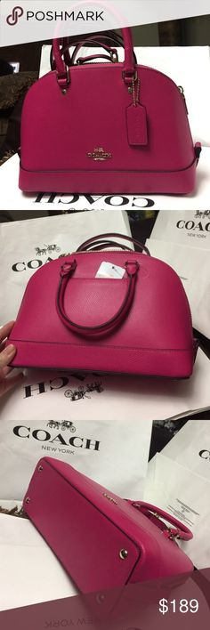 Coach Purse 100% Authentic Coach Purse, brand new with tag!.color Pink Ruby. Coach Bags Crossbody Bags