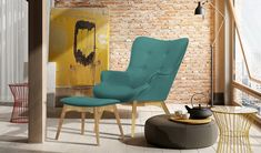 Blick Ducon Lounge Chair and Footstool Velvet Wingback Chair, Chair And Ottoman, Modern Interior, Interior Design, Lounge, Folding Chair, Chair Design, Floor Chair, Ontario