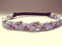 Lavender Light Blue and Gold Braided Headband Hippie Headband Womens Hair Accessories Bohemian on Etsy, $18.00