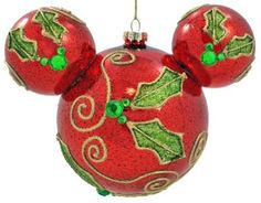 Disney Mickey Mouse Icon Holly Ornament, Red