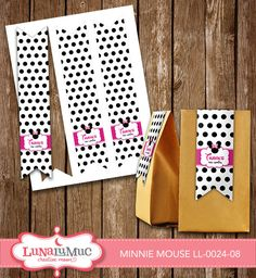 Minnie Mouse Treat Bag Tags Minnie Mouse Birthday Party Printables LL-0024-08