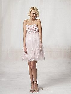 Strapless Mini Organza Bridesmaid Dress with Flowers 0113874 - USD $127.97
