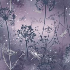 This Fantasia Damselfly wallpaper features an outdoor theme with dandelions, damselflies and botanicals set on a purple background with gel glitter accents Dandelion Wallpaper, Blush Wallpaper, Unique Wallpaper, Embossed Wallpaper, Paper Wallpaper, Wallpaper Panels, Wallpaper Roll, Interior Wallpaper, Beautiful Wallpaper
