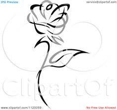 Clipart Of A Black And White Rose Flower 1 - Royalty Free Vector Illustration by Seamartini Graphics