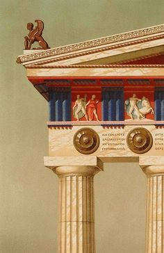 "temples were painted, so that bright reds and blues contrasted with the white of the building stones hellasinhabitants: "" Detailed color image of an ancient Greek Doric Temple. (1870 AD) Λεπτομερής...:"