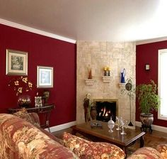 Burgendy Accent Wall Burgundy Accent Wall In Living Room