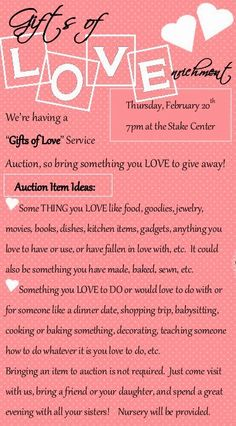 Little Inspirations: Gifts of Love Service Auction Relief Society Activity