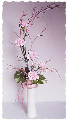 Branches with carnations and leaves; serene and elegant.