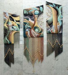 Three-dimensional non-woven tapestry by Armenian artist Yuri Hovsepian Weaving Textiles, Weaving Art, Tapestry Weaving, Loom Weaving, Art Textile, Textile Artists, Wool Art, Macrame Patterns, Weaving Techniques