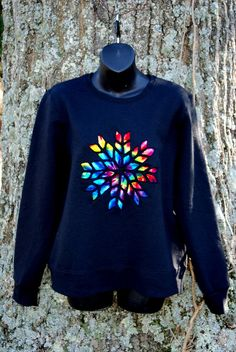 Stain Glass Snowflake Tie Dye Cotton Sweatshirt Black Rainbow Ski Lodge - by BondurantMountainArt