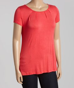 Look what I found on #zulily! Coral Short-Sleeve Top - Plus by Poliana Plus #zulilyfinds