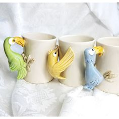 Fitz and Floyd Bird in Hand Mugs, Set of 3 Bird Coffee Mugs, 1978,... (150 ILS) ❤ liked on Polyvore featuring home, kitchen & dining and drinkware