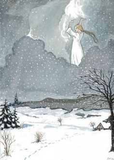A. Cohrs, Fau Holle makes it snow. Gouache based on illustration by Otto Ubbelohde 1950//