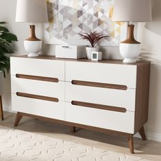 Mid-Century White and Walnut 6-Drawer Chest by Baxton Studio