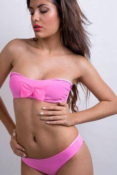 Reversible Bandeau Bikini, Plain Logo Bow Swimsuit Woman, Bathing Suit, Beachwear separate ribbons, two pieces