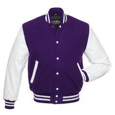 Purple Wool and White Leather Letterman Jacket - C105 US ($50) ❤ liked on Polyvore featuring outerwear, jackets, leather varsity jackets, white jacket, wool jacket, real leather jackets and letter jacket