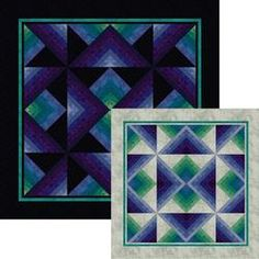 "Night and Day - Jinny Beyer quilt pattern. ""You get two quilts from a single kit: Night is made from triangles cut from strip-sets and assembled with a dark background. The strip-set leftovers and a light background are used to make Day."""