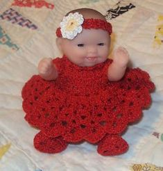 "Crochet Doll Clothes for 5"" Berenguer Itty Bitty Baby Red 4 PC Outfit"