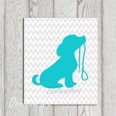 Turquoise Gray Nursery dog printable Chevron Little by DorindaArt, $5.00