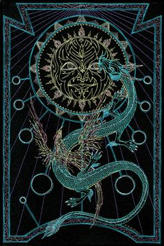 Looks like an awesome tarot card Geometric Symbols, Occult Art, Major Arcana, Dragon Art, Eye Art, Dojo, Book Of Shadows, Pretty Art, Dark Art